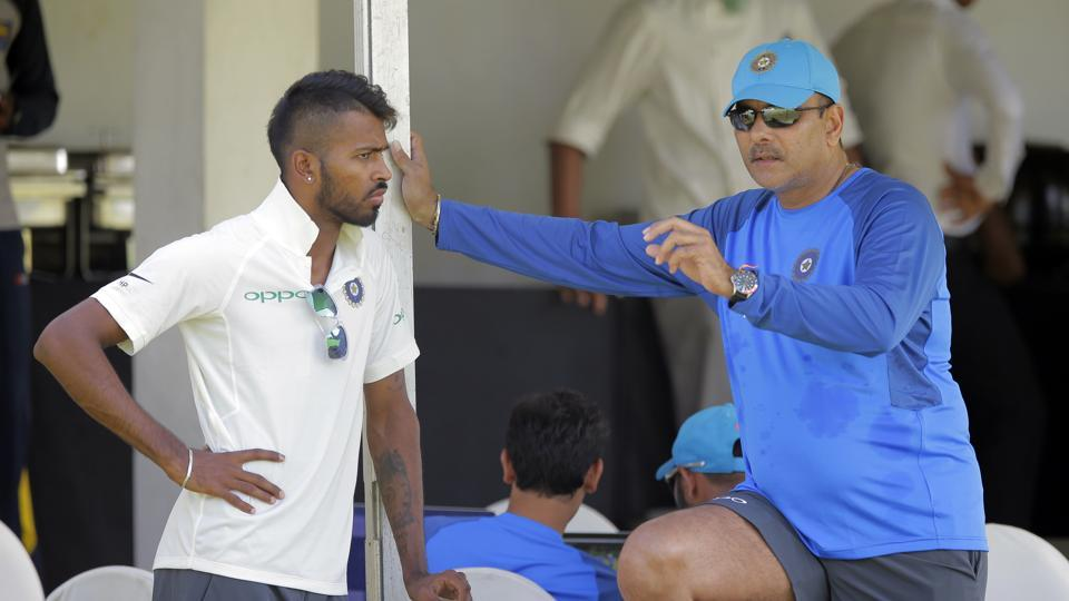 Ravi Shastri was seen giving tips to all-rounder Hardik Pandya. India's three-Test series against Sri Lanka begins July 26.  (AP)