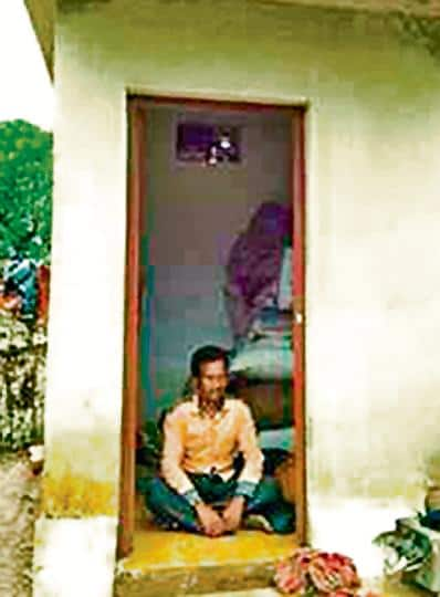 Abject poverty has forced a homeless man  and his family in Odisha's mineral-rich Keonjhar district to live inside a toilet to escape the rain.
