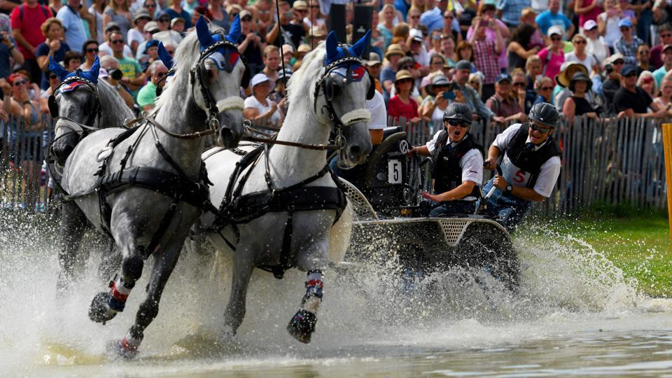 Czech rider Jiri Nesvacil leads his horses through an obstacle during the Marathon driving competition for four-in-hand drivers during the World Equestrian Festival CHIO in Aachen Germany. (PATRIK STOLLARZ / AFP)