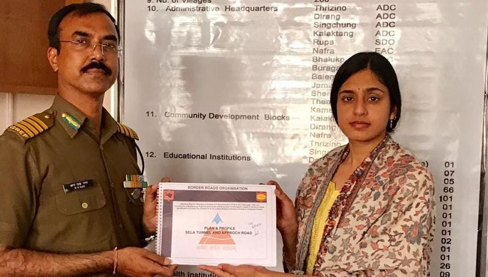 42 BRTF commander RS Rao handing over request for land acquisition for tunnels to West Kameng deputy commissioner Sonal Swaroop.