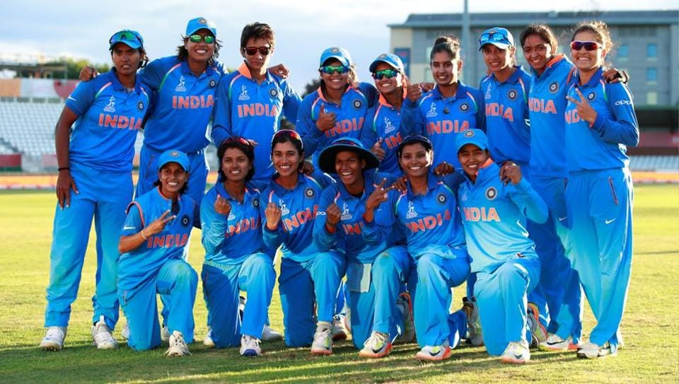 India celebrate after winning their Women's Cricket World Cup semi final against Australia.