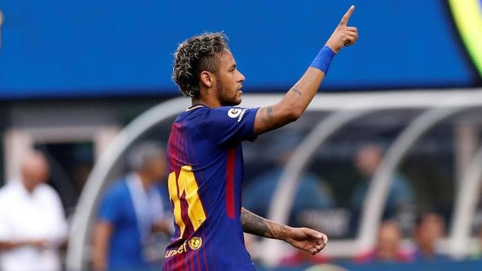 FC Barcelona's Neymar celebrates after against Juventus.