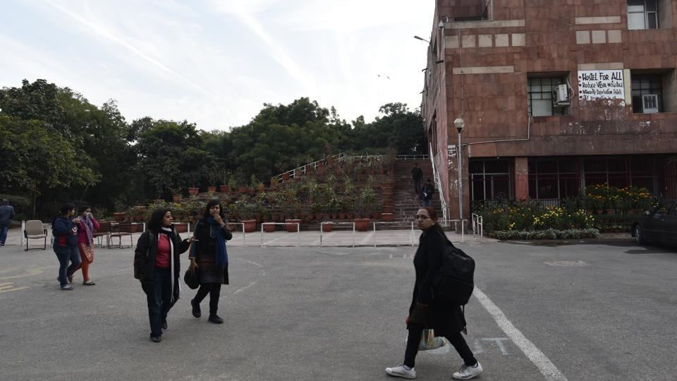 Students in front of the administrative building of JNU in New Delhi.