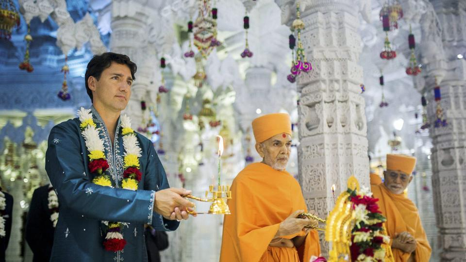 Canada's Prime Minister Justin Trudeau visits the BAPS Shri Swaminarayan Mandir to celebrate its 10th anniversary on Saturday.