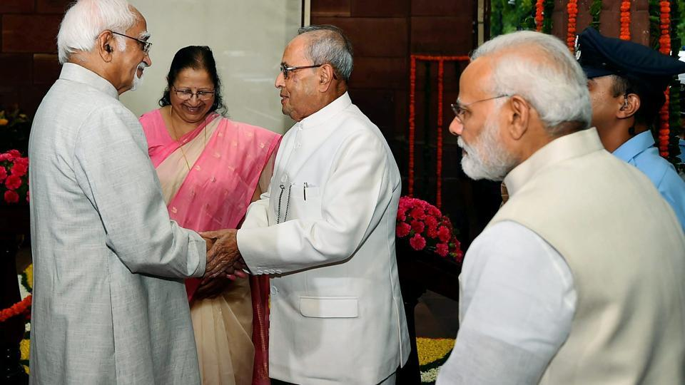 President Pranab Mukherjee being welcomed by vice president Hamid Ansari on his arrival at Parliament for his farewell ceremony in New Delhi on Sunday. Prime Minister Narendra Modi and Lok Sabha Speaker Sumitra Mahajan are also seen in this photograph.