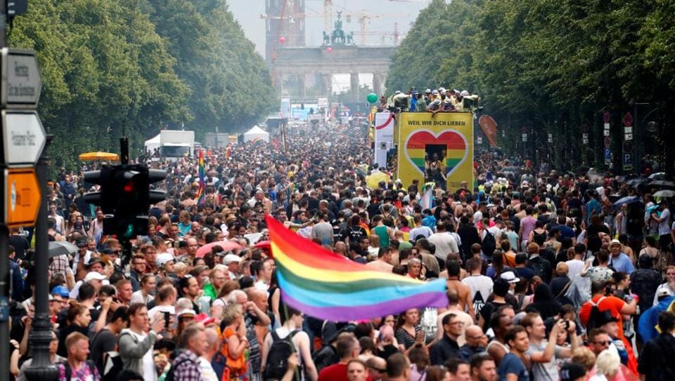 Revellers take part in the annual Gay Pride parade, also called Christopher Street Day parade (CSD), in Berlin, Germany July 22.