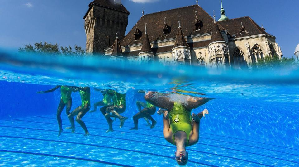 An underwater camera shows swimmers practicing ahead of the Women's Free Combination Preliminary round during the synchronised swimming competition at the 2017 FINA World Championships in Budapest. (FERENC ISZA / AFP)