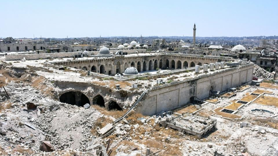 Northern Syrian city of Aleppo, which was recaptured by government forces in December 2016, shows a general view of the destruction at the site of the ancient Great Umayyad Mosque in the old city. (George OURFALIAN / AFP)