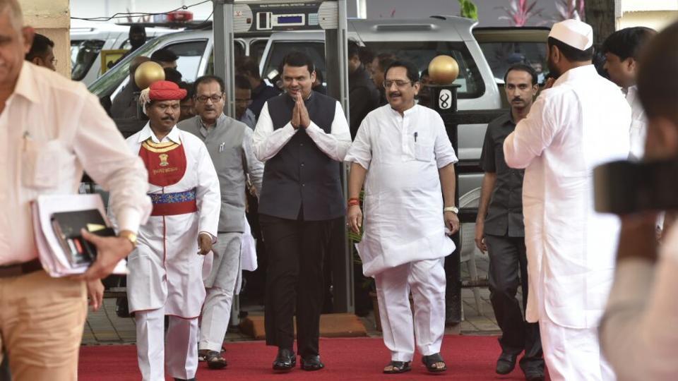Maharashtra CM Devendra Fadnavis arrives at Vidhan Bhavan in Mumbai on the first day of the monsoon session on Monday. (anshuman poyrekar/ht photo)