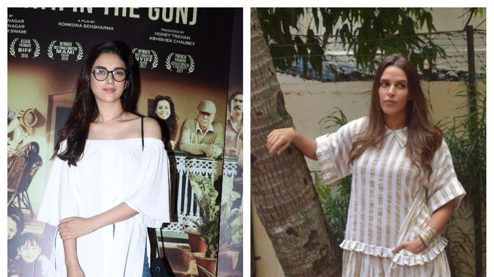 Bollywood actors Aditi Rao Hydari (left) and Neha Dhupia rock anti-fit clothing.