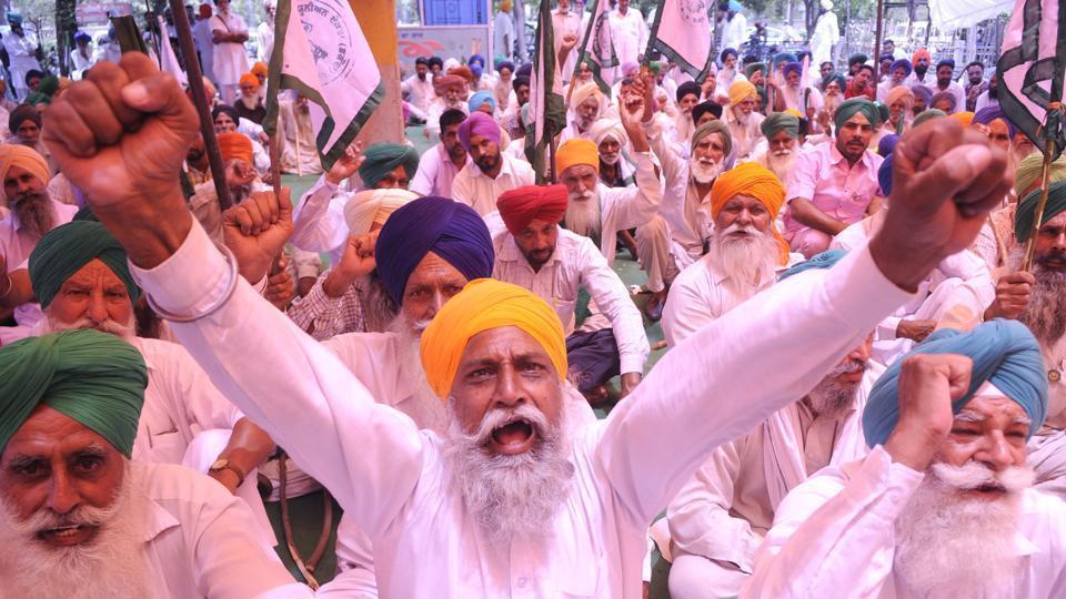 Farmers during a protest in Patiala.