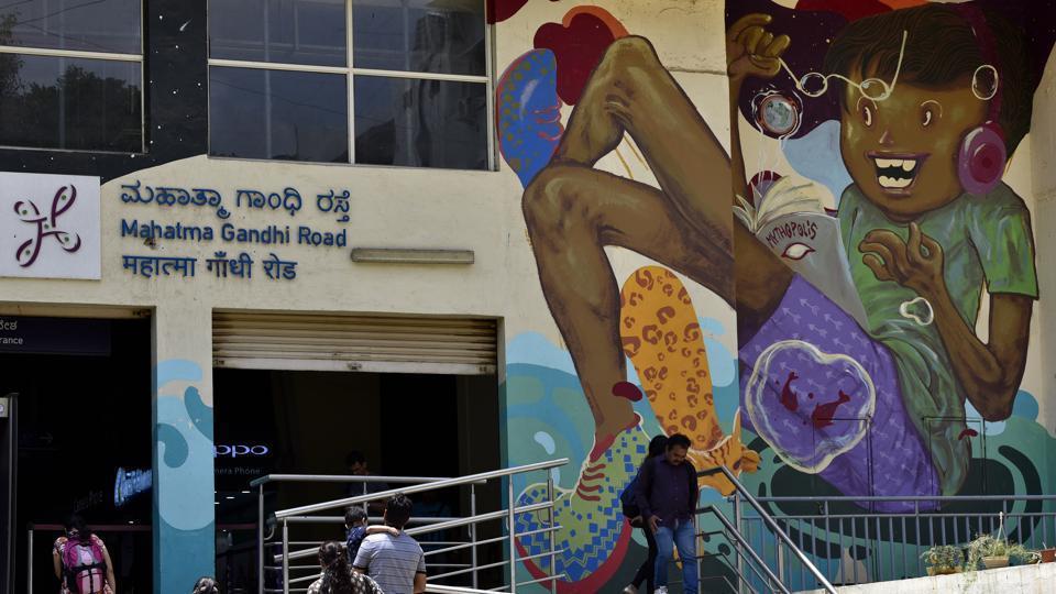 Kannada, English and Hindi signage at Bengaluru's Mahatma Gandhi Road station.