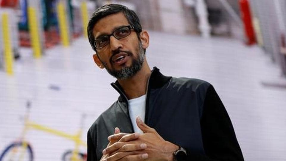 Google CEO Sundar Pichai speaks on stage during the annual Google I/O developers conference in San Jose, California.