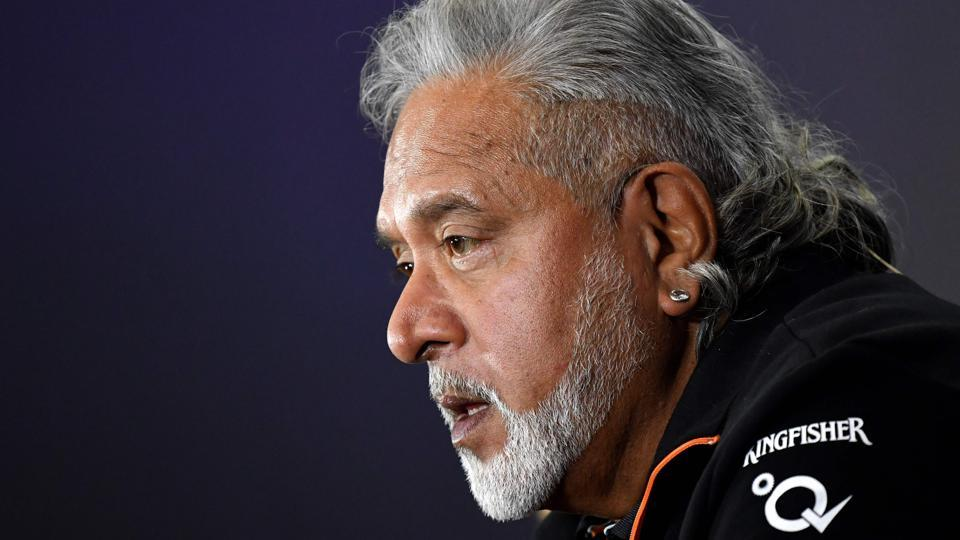Vijay Mallya is seen during a press conference at Silverstone motor racing circuit in Silverstone, central England on July 14, 2017.