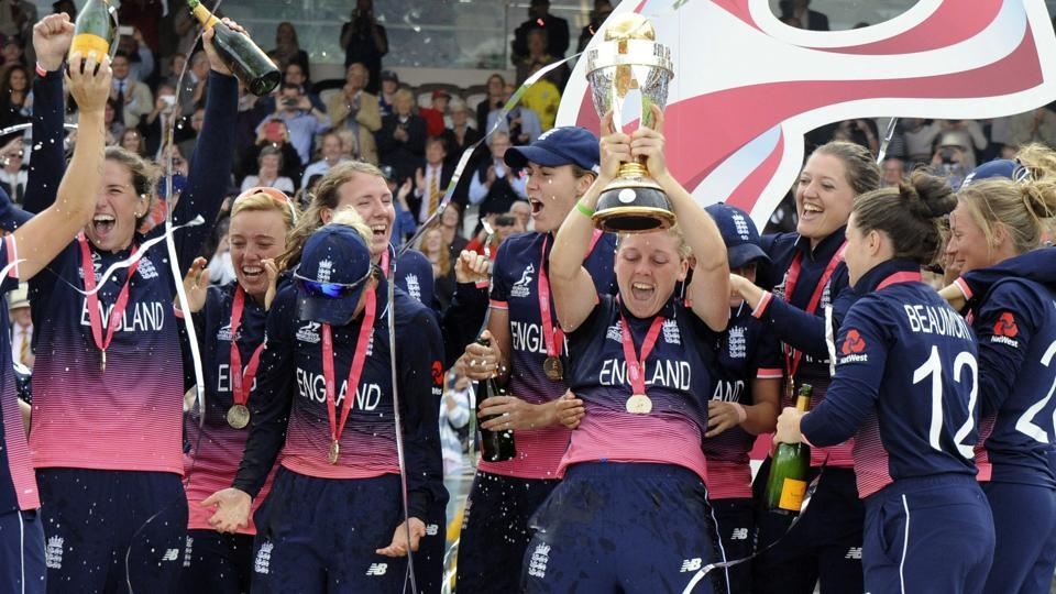 England clinched their fourth World Cup title in dramatic style after defeating India by nine runs in the final of the ICC Women's World Cup at Lord's. (AP)