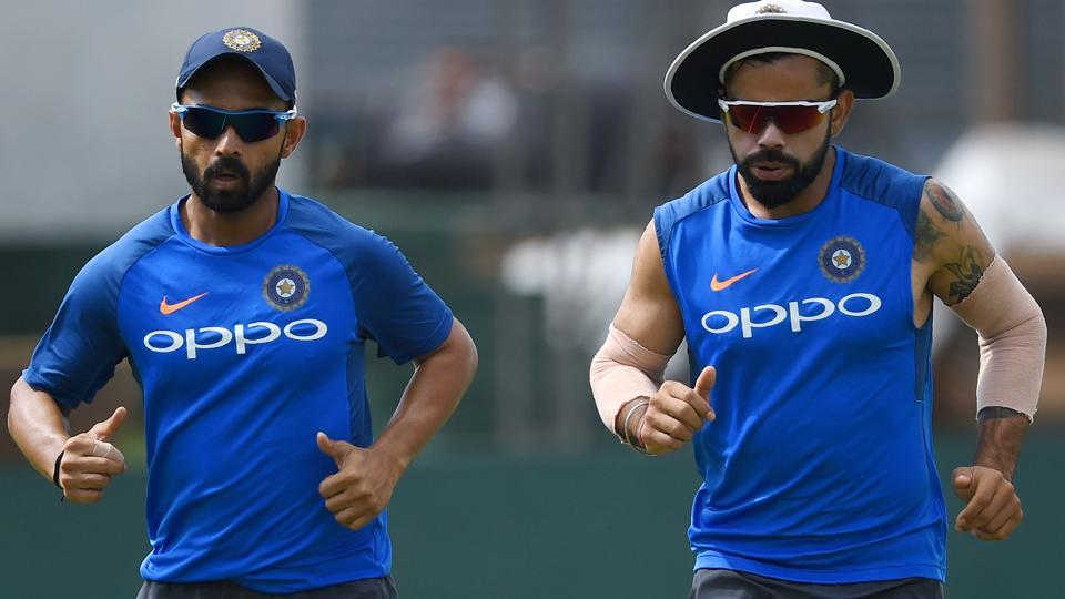 Kohli (R) would hope Ajinkya Rahane to give solidity to the middle order against Sri Lanka. (AFP)