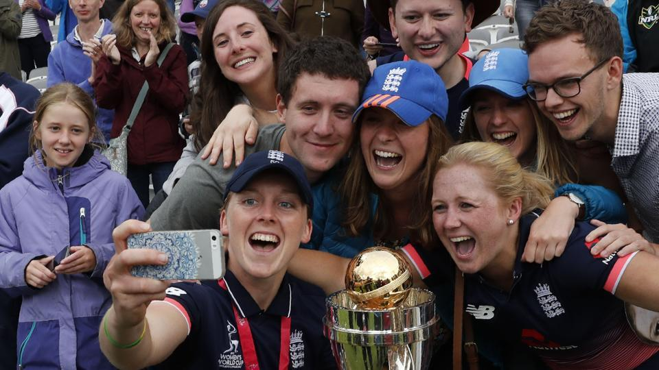 Captain Heather Knight also posed with the fans as they celebrated. (AFP)