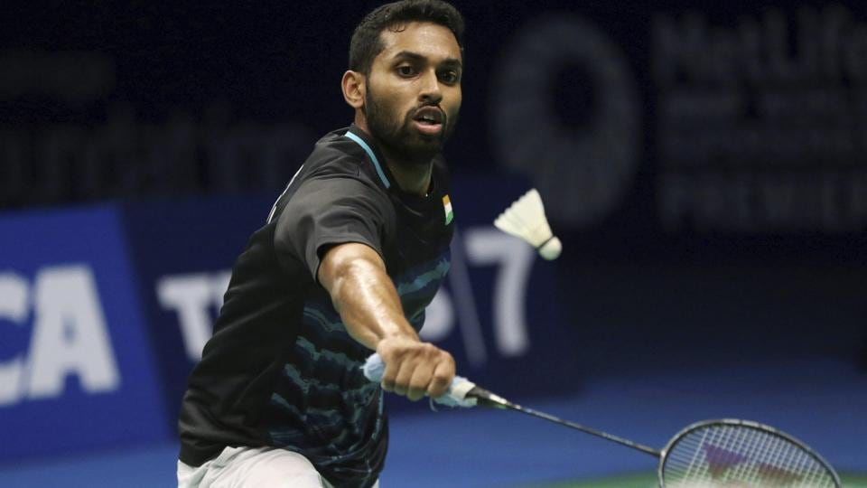 HSPrannoy in action against Parupalli Kashyap in the USOpen badminton final.