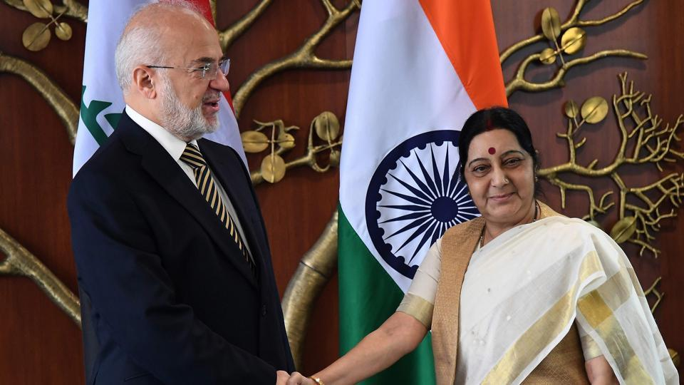 External affairs minister Sushma Swaraj shakes hands with foreign minister of The Republic of Iraq Ibrahim Al-Eshaiker Al- Jafari.