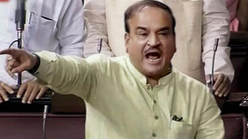 Parliamentary Affairs Minister Ananth Kumar speaks in the Rajya Sabha in New Delhi on July 19, 2017.