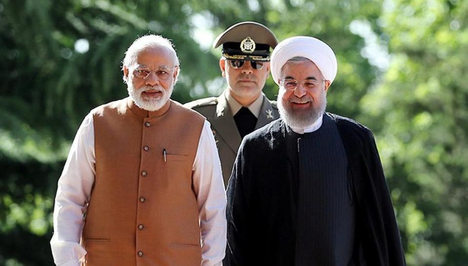 Prime Minister Narendra Modi and Iran's President Hassan Rouhani review the guard of honour, Tehran, Iran, May 23, 2016