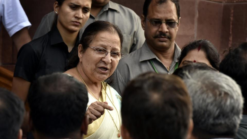 """Sumitra Mahajan's comments came shortly after she suspended six Congress MPs from the House for five days for their """"highly unbecoming"""" conduct during protests over the lynching issue that """"undermined the Chair's dignity""""."""