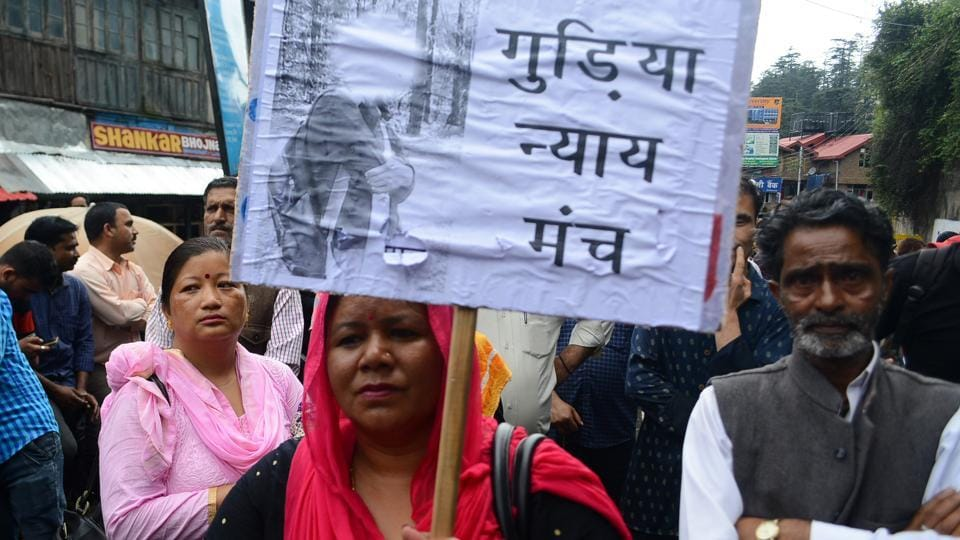 Women from Nepali community take part in the protest and chakkajam outside the Himachal Pradesh secretariat against rape and murder of teenage girl and the murder of Nepali labourer in police custody in Kotkhai, Shimla on July 24 2017.