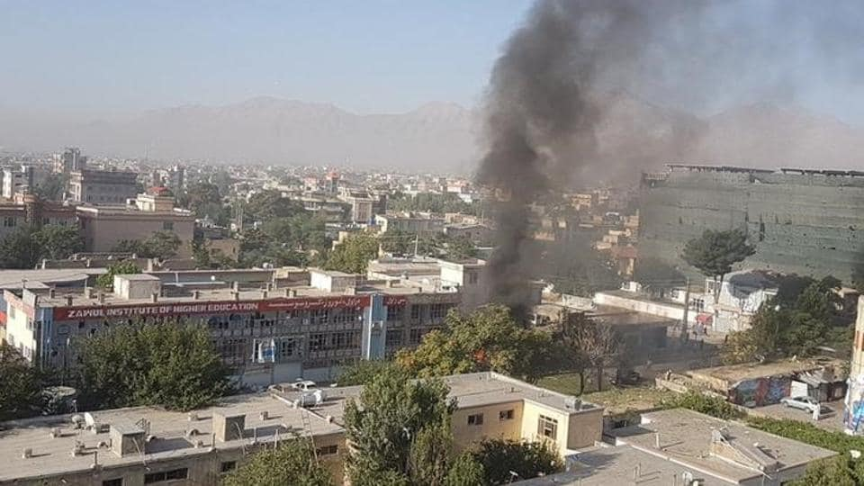 Smokes rising after an explosion at Zawul Institute of Higher Education in Kabul. (Ahmad Shuja / Reuters)