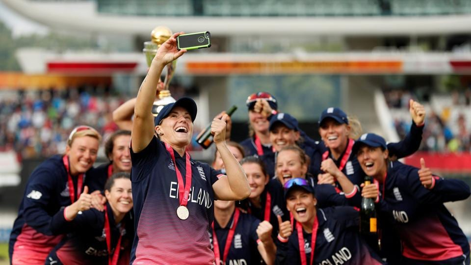 Katherine Brunt takes a selfie with the entire winning team as Lord's was awash with scenes of joy. (Action Images via Reuters)