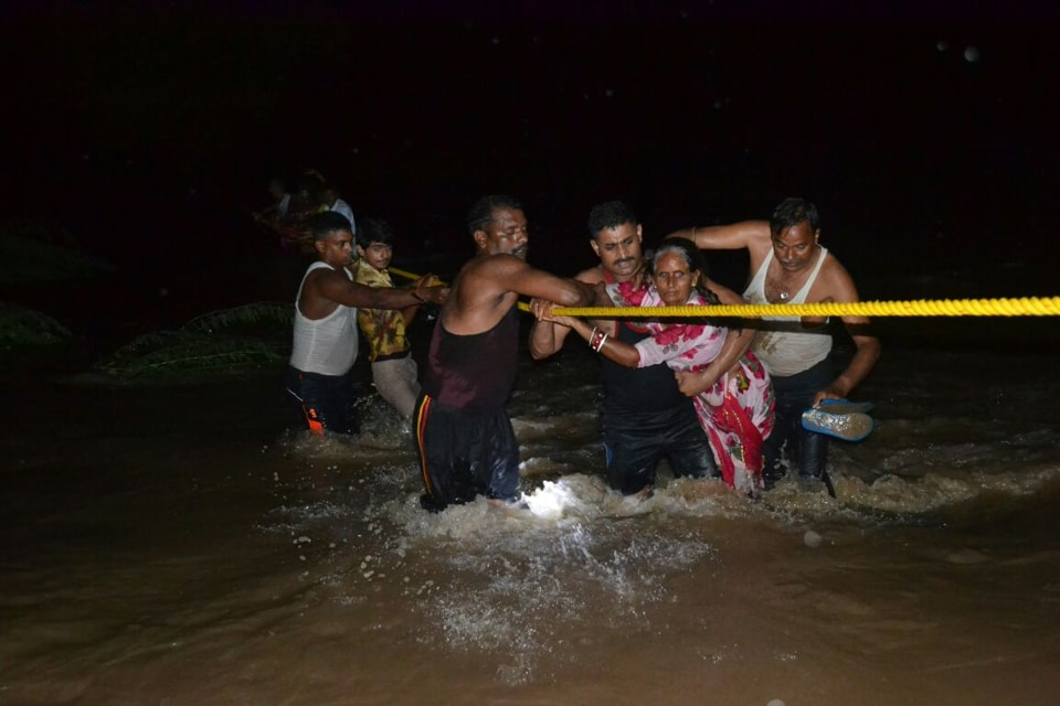 An Army team rescuing civilians in Pawata in Rajasthan's Pali district on Monday night.