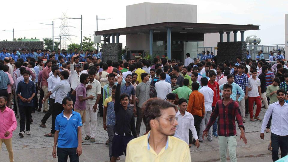 The employees outside Vivo office in Greater Noida.