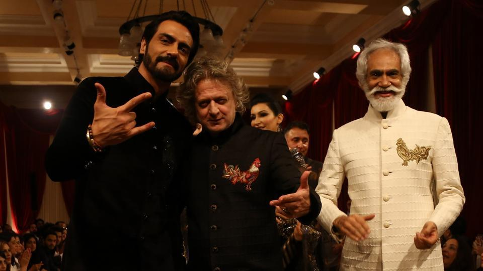 Arjun Rampal. Rohit Bal and Sunil Sethi at India Couture Week 2017.
