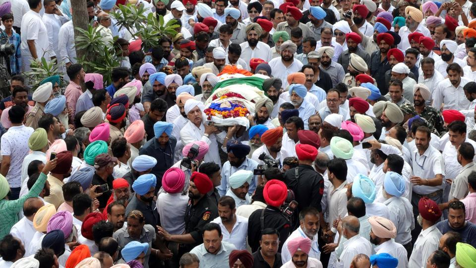 The funeral procession of Punjab CM Amarinder Singh's mother, Rajmata Mohinder Kaur, started from Moti Bagh Palace at about 1pm and went through the streets of Patiala.