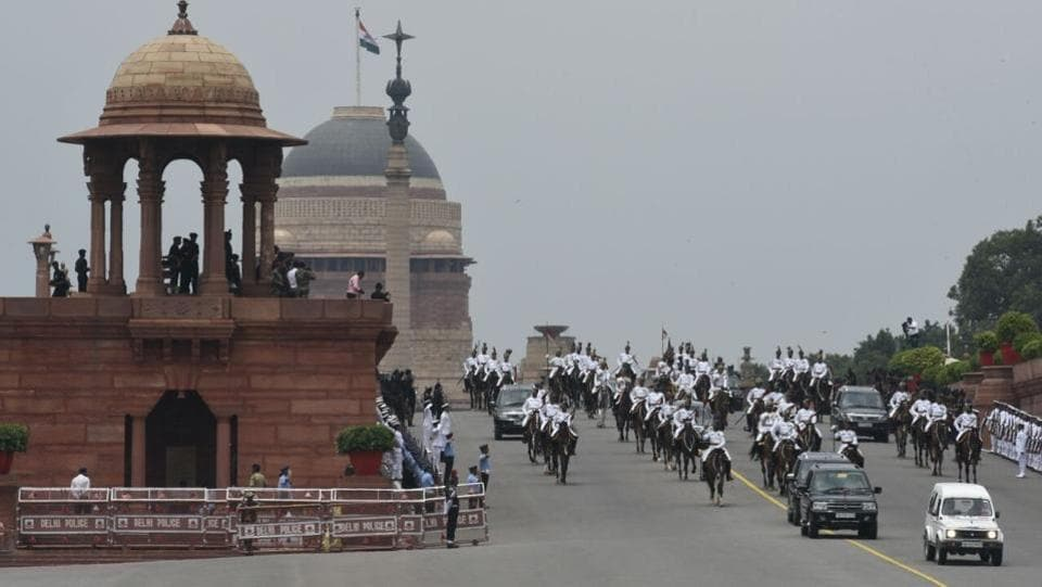 According to tradition, the new President (Kovind)escorts the outgoing president to his/her new address. The road from Rashtrapati Bhavan to Parliament was lined with jawans of the armed forces. (Sonu Mehta / HT Photo)