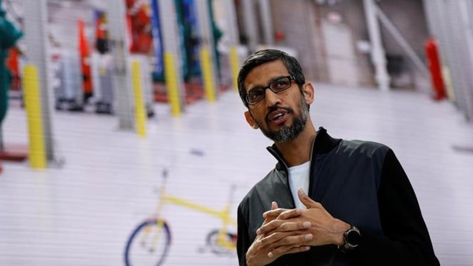 Google CEO Sundar Pichai during the annual Google I/O developers conference in San Jose, California, in May.