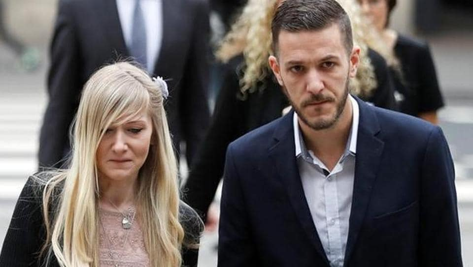 Charlie Gard's parents Coonie Yates and Chris Gard arrive at the High Court ahead of a hearing on their baby's future, in London, Britain July 24, 2017.