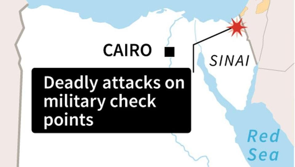 Map locating Sinai in Egypt where deadly car bombing took place near a military check point on July 25.