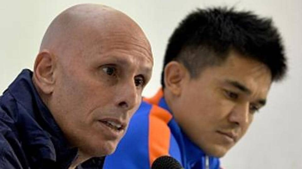 Indian national football team head coach Stephen Constantine (L) said his preparations for some of the 2018 FIFA World Cup qualifiers were hampered by the Indian Super League (ISL), with players being released three days before a game.