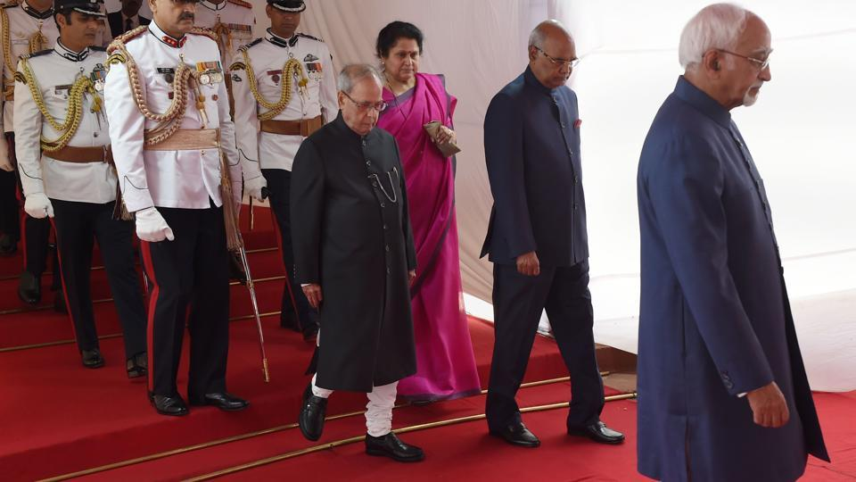 Incoming Indian president Ram Nath Kovind (2R) and outgoing President Pranab Mukherjee arrive at the Indian Parliament . A former lawyer and state governor, Kovind won the largely ceremonial position with more than 65 percent of the vote by members of India's parliament and state assemblies. (AFP)