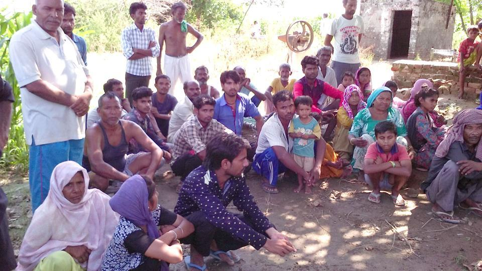 Rescued bounded labourer in Muzaffarpur village, on the outskirts of SBS Nagar, on Monday.