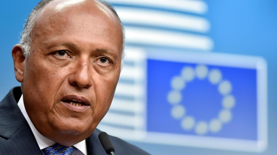 Egypt's minister for foreign affairs Sameh Hassan Shoukry hold a news conference after a EU-Egypt Association Council in Brussels, Belgium on July 25, 2017.