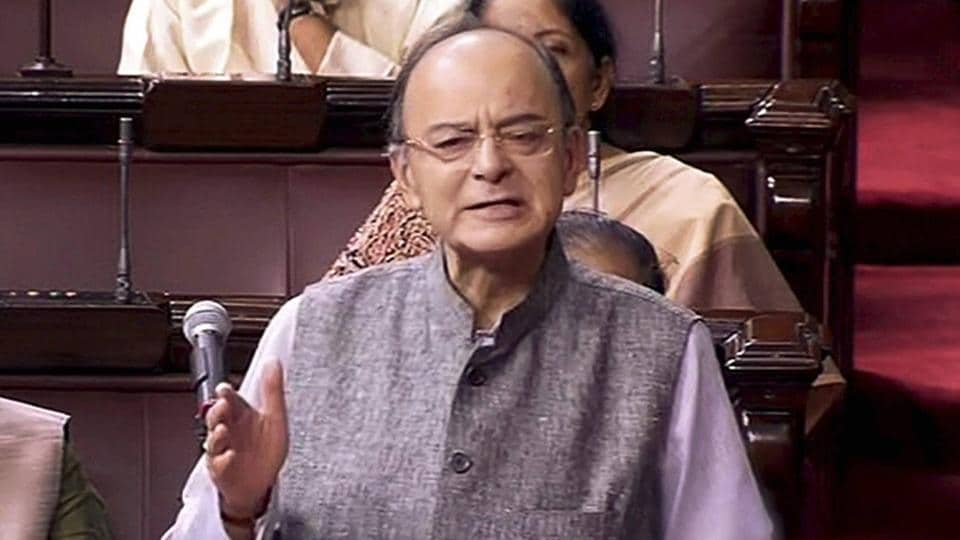 Union Minister Arun Jaitley speaks in the Rajya Sabha during the ongoing monsoon session of Parliament in New Delhi on Tuesday.