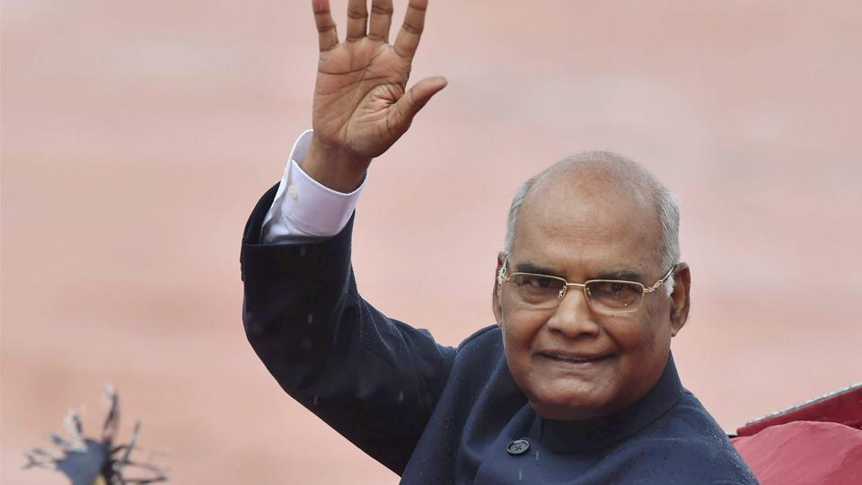 Newly sworn-in President Ram Nath Kovind waves as he leaves in a regal buggy after inspecting a guard of honour in the forecourt of the Rashtrapati Bhavan in New Delhi on Tuesday. R