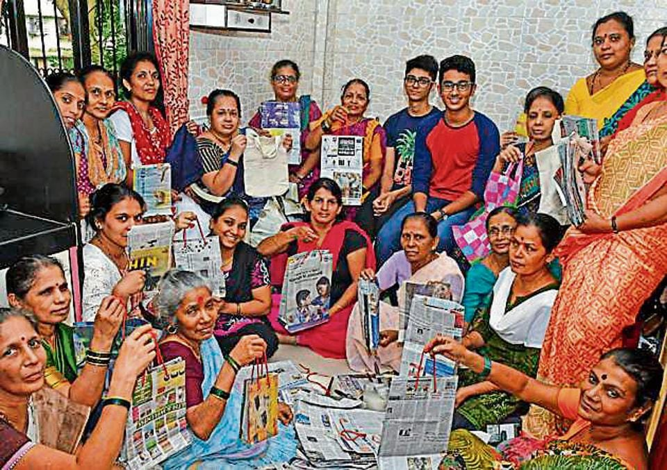 Two teen activists with the members of the women's self-help group in Bandra on Tuesday.