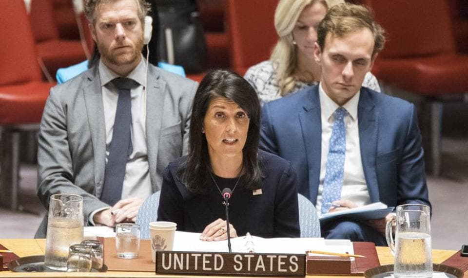 American ambassador to the United Nations Nikki Haley speaks during a Security Council meeting on Tuesday.