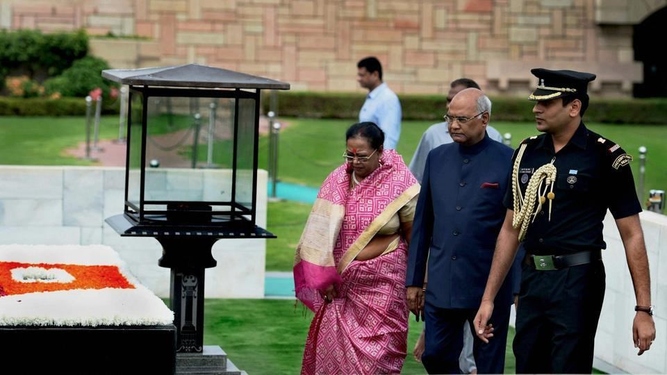 The morning had begun with the president-elect offering floral tributes to Mahatma Gandhi at Rajghat. (PTI)