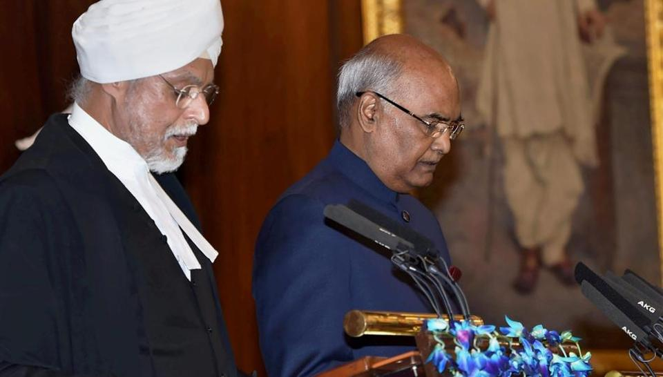 Chief Justice of India, Justice JS Khehar administers oath of office to Ram Nath Kovind as the 14th President of India at a special ceremony in the Central Hall of Parliament in New Delhi . President Ram Nath Kovind is the first BJP member and only the second Dalit to be elected to Rashtrapati Bhavan. He succeeds Pranab Mukherjee as the 14th President of India. (PTI)