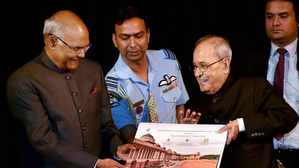 Outgoing President Pranab Mukherjee with president-elect Ram Nath Kovind releases a publication at a function at Rashtrapati Bhavan in New Delhi on Monday.
