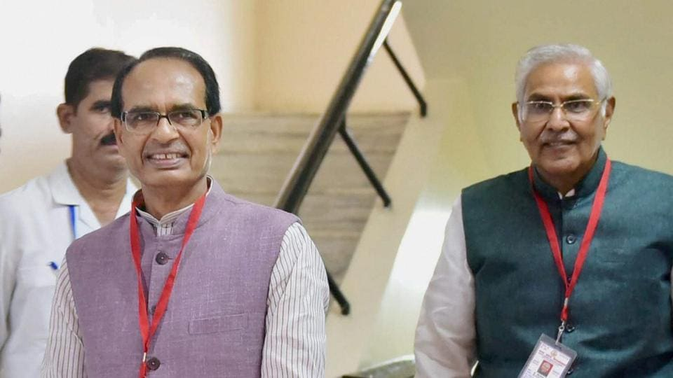 Bhopal: Madhya Pradesh Chief Minister Shivraj Singh Chouhan with Speaker Sita Saran Sharma after casting their votes for Presidential election, at State Assembly in Bhopal on Monday.