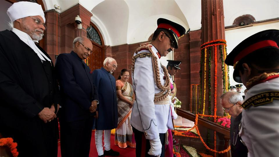 President Pranab Mukherjee arrives to attend the swearing-in ceremony. (PTI)